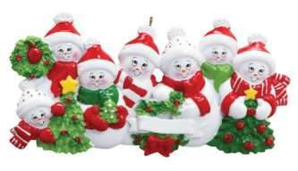 Snowman Family Ornament three sizes for large families personalized