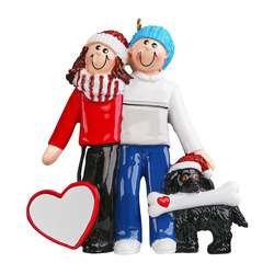 Couple with brown or black dog personalize ornament