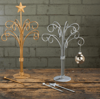 Gold and silver multi ornament tree stands