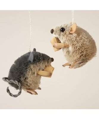 Grey sisal mouse or Tan mouse ornament