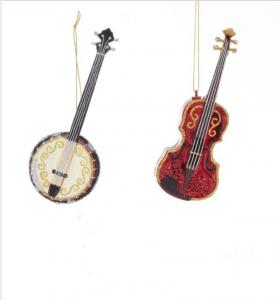 Glass Banjo and Violin Ornament