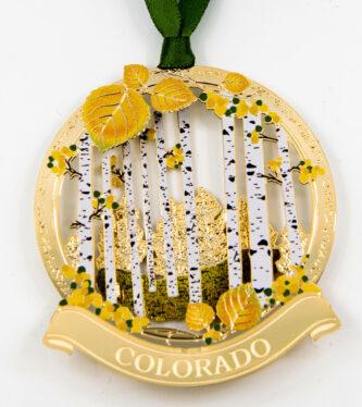Aspen Leaf Gold Ornament