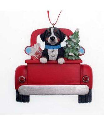 Bernese in truck ornament