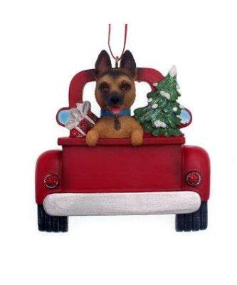 German Shepherd in a truck ornament