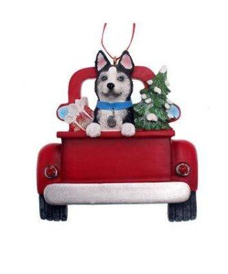 Husky in truck ornament