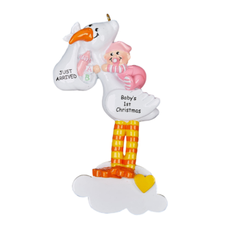 Baby Girl On A Stork Personalized