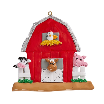 Red Barn With A Cow, Pig, Horse and Chicken Personalized