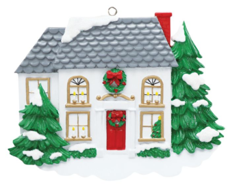 White Two Story House Decorated with Wreaths for the Holidays Personalize