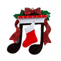 Music Notes Holding Up a Mantle with a Red Stocking Personalized