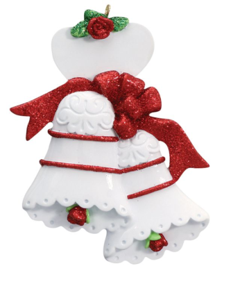 White Bells with Red Ribbon and Roses Personalize