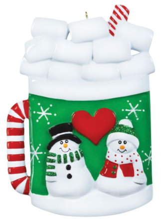 Christmas Mug with Snowman Couple and Marshmallows Personalize