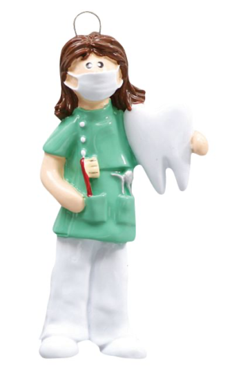 Female Dentisit with Large Tooth and Toothbrush