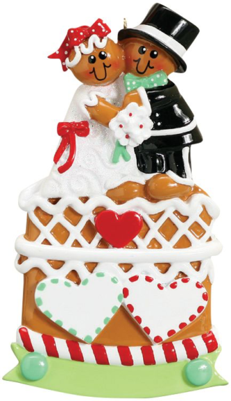 Gingerbread Wedding Cake with Bride and Groom and Hearts Personalize