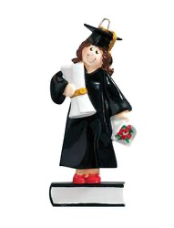 Girl or Boy Graduate Standing on a Book with a Diploma Personaize