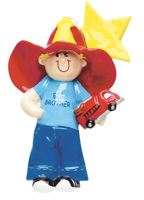 Big Brother Dressed in a Fireman's Hat Personalize