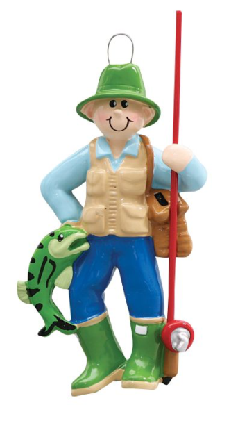 Fisherman with Tackle Bag Pole and Fish Personalize