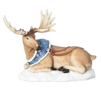 Moose Lying Down with Blue Harness Figurine