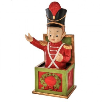 Soldier as a Jack in the Box Red with a Christmas Wreath