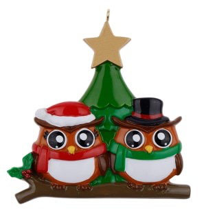 Owl Families with Christmas Tree Persaonlize