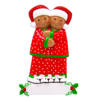 African American Families in Pajamas Ornament Personalize