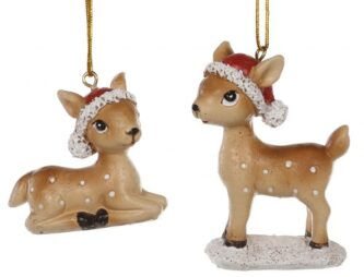 Fawn with Santa Hat Ornaments