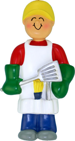 Man with Grilling Tools Ornament Personalize