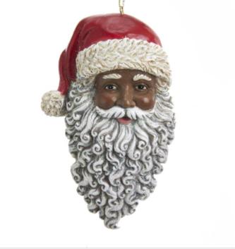 African American Santa Face Ornament