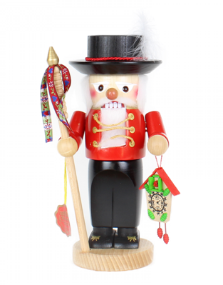 Tradiitional Black Forester in Red Coat with Clock and staff