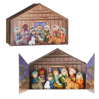 Childrens 12 piece Nativity set with Stable storage box