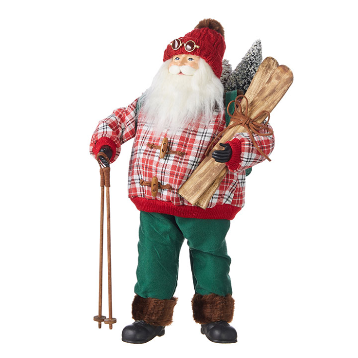 Santa with Plaid Coat and Wooden Skiis and Poles Figurine