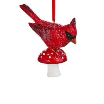 Red Cardinal on Mushroom Ornament