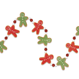 Red and Green Gingerbread man Garland