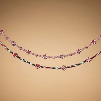 Two Styles Candy Look Garland One with Round Beads and Starlight Mints and One with Long Beads and Starlight Mints