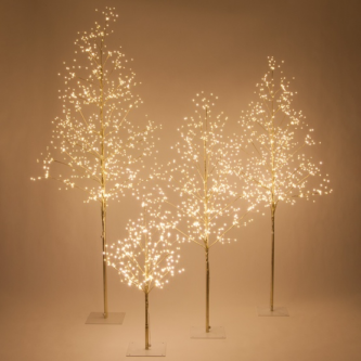 Gold Trees with Fairy Lights four sizes