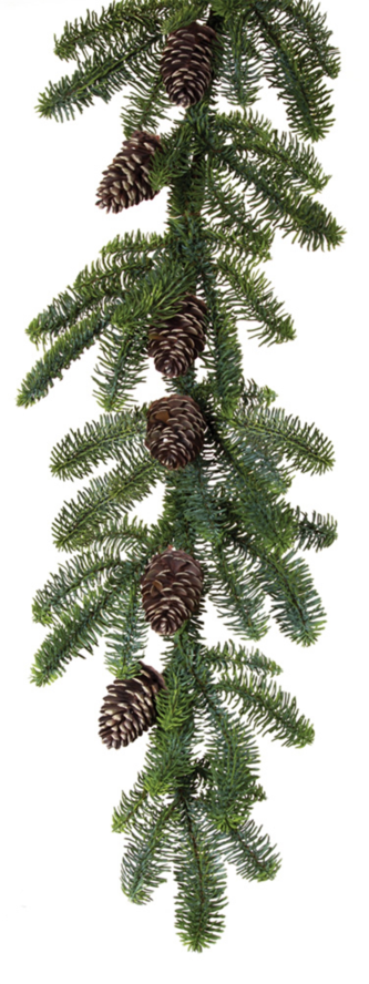 Green Pine and Pinecone Garland Five Foot