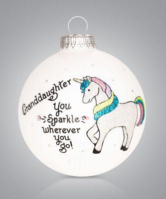 Granddaughter Ornament with Unicorn Personalize