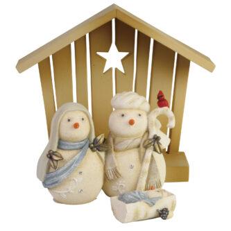 Snowman Nativity Three peice set Baby Jesus Mary and Joseph and a creche