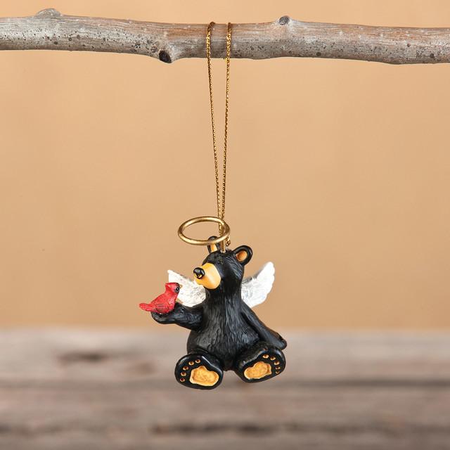 Sitting Black Bear Angel Ornament
