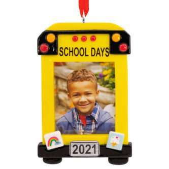School Bus Photo Holder Dated Ornament