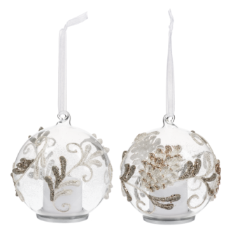 Glass Ball ornaments with gold glitter swirls and pine cones