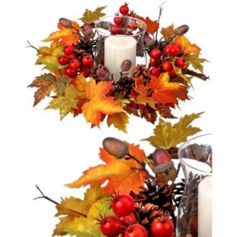 Fall Harvest Mix Colors Maple Leaf, Berries and Pinecone Candle Holder with Glass Hurricane Candle Holder