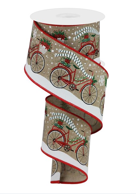 Bicycle on a brown linen look background with snow ribbon