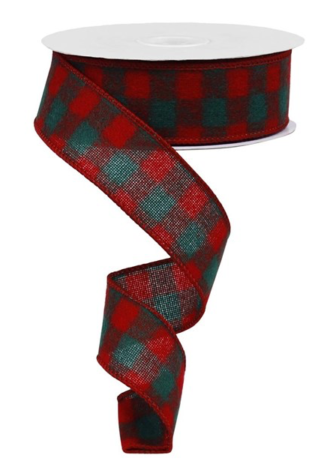 Red and Green Checked Ribbon