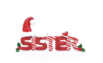 Sister red glitter ornament with candy cane letters personalized