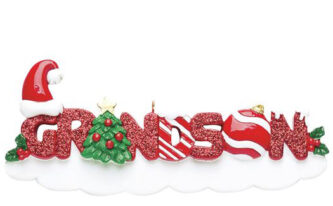 Grandson with Candy Cane Letters Ornament