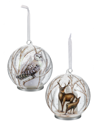 Owl and Deer Glass Ornaments lit from within with battery operated candle