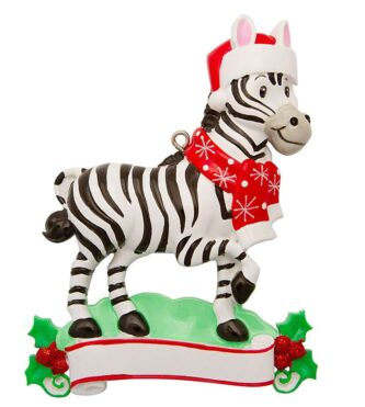 Personalized Holiday Zebra ornament
