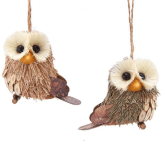 Baby Wide Eyed Sisal Owl Ornaments