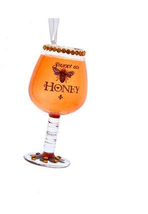 Honey Bee Wine Glass Ornament