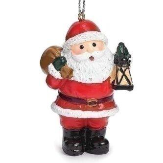 Jolly Santa with Lantern Ornament